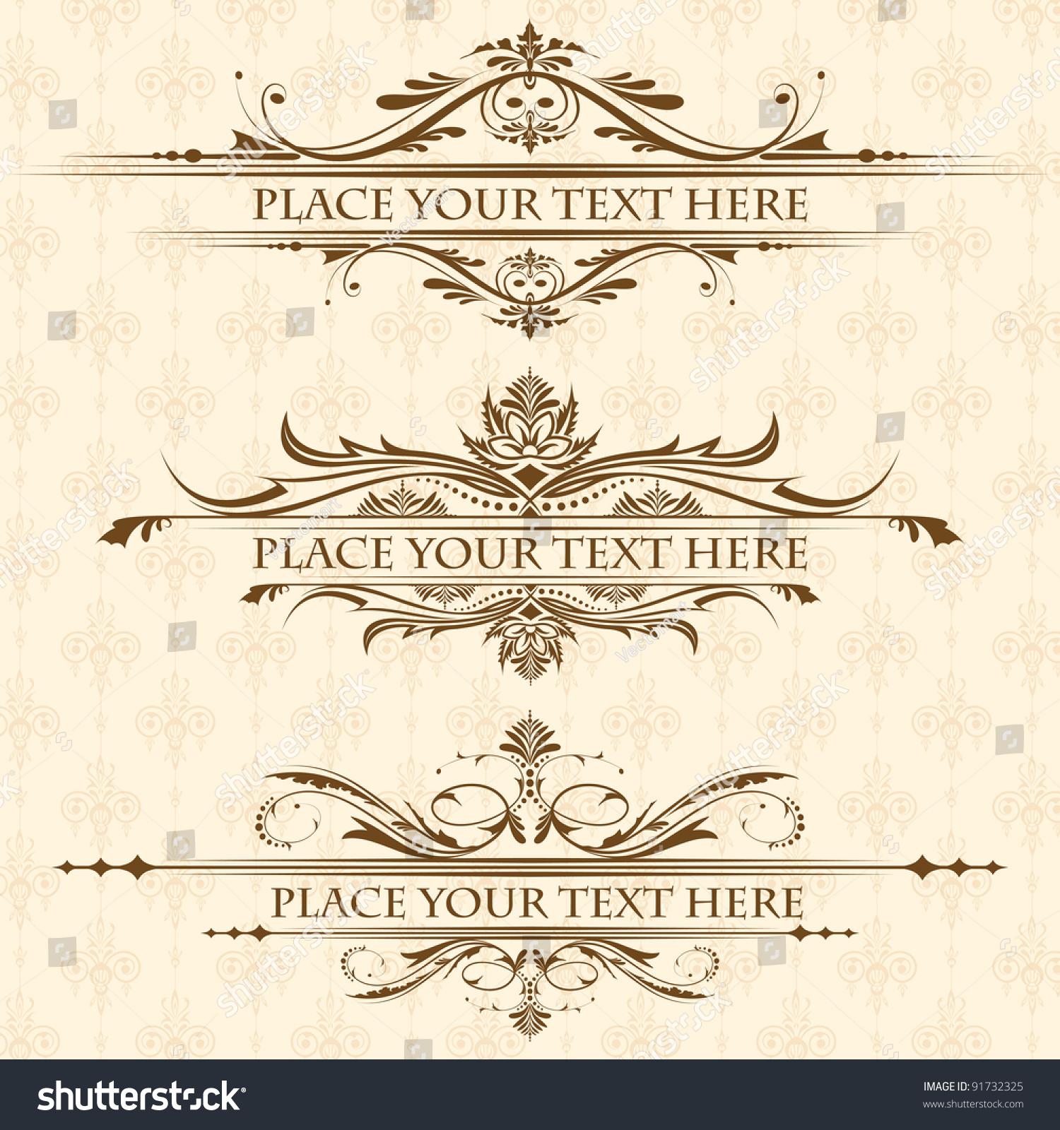 Illustration Set Vintage Design Elements Page Stock Vector 91732325 Shutterstock