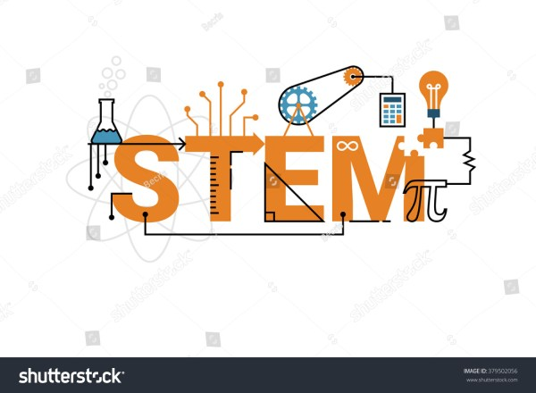 Illustration Stem Education Word Typography Design Stock