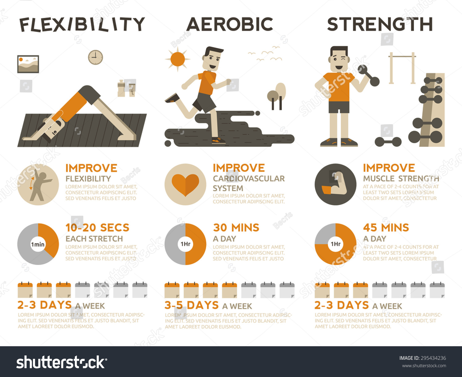 stock vector illustration of types exercises flexibility aerobic and strength training 295434236