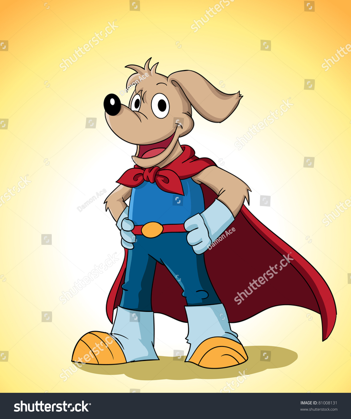 Image Of A Cute Dog In Superhero Costume. Suitable For Product Mascot Or Just Web Usage. See My Portfolio For Other Cute Animal Character Stock ...