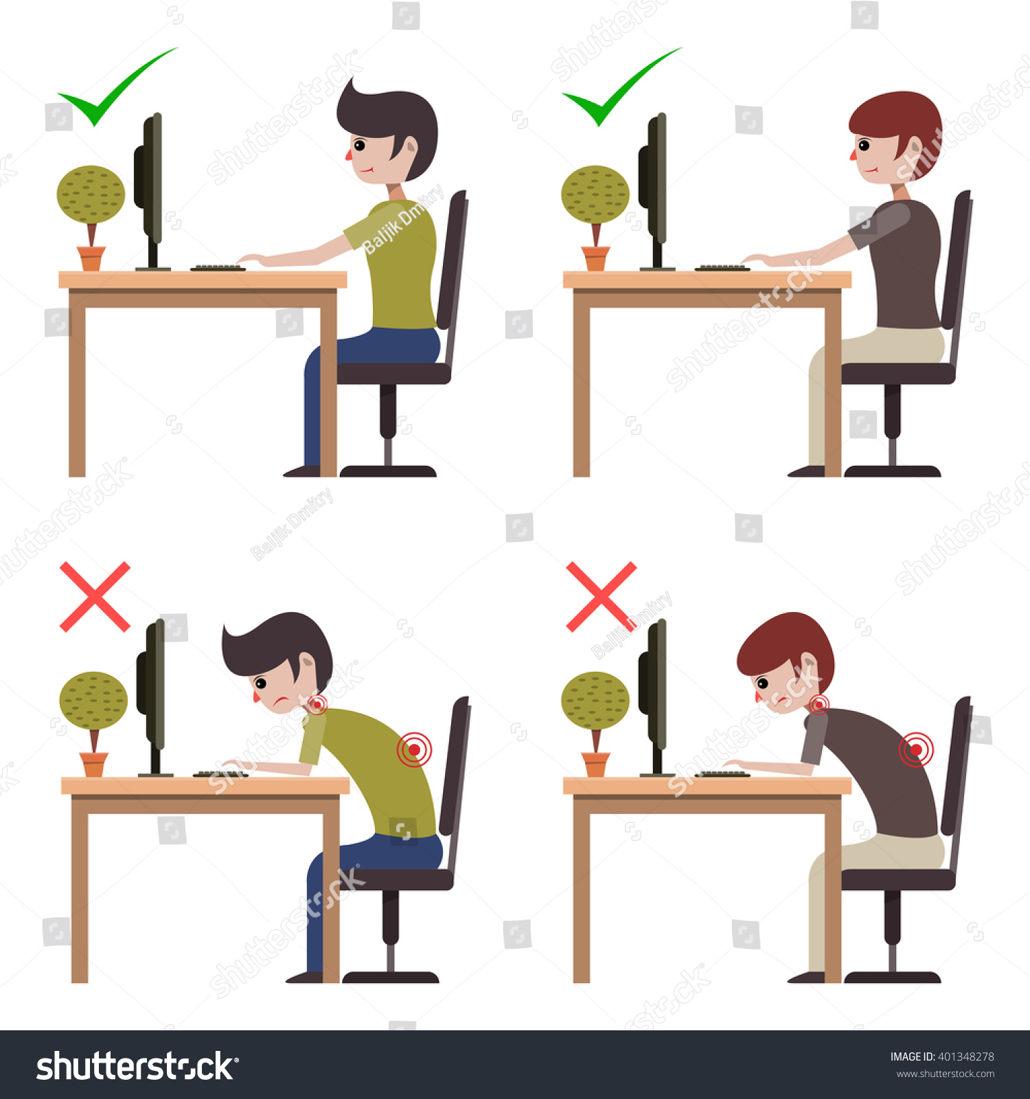 Incorrect Correct Back Sitting Position Good Stock Vector