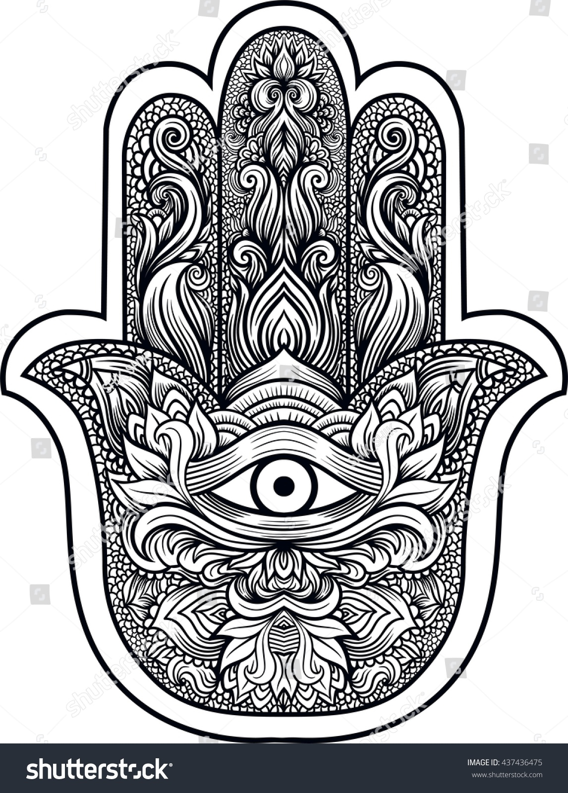 Indian Hand Hamsa Hand Fatima Third Stock Vector