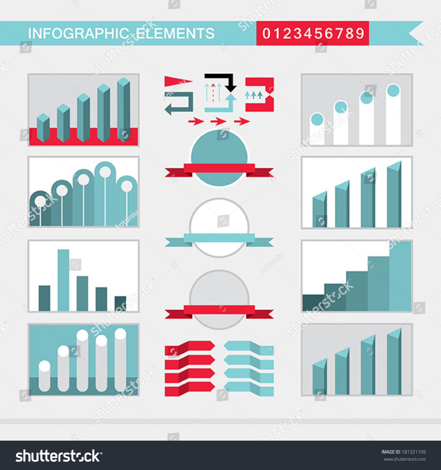 Infographic Elements Charts Graph Diagram Arrowssignsbars