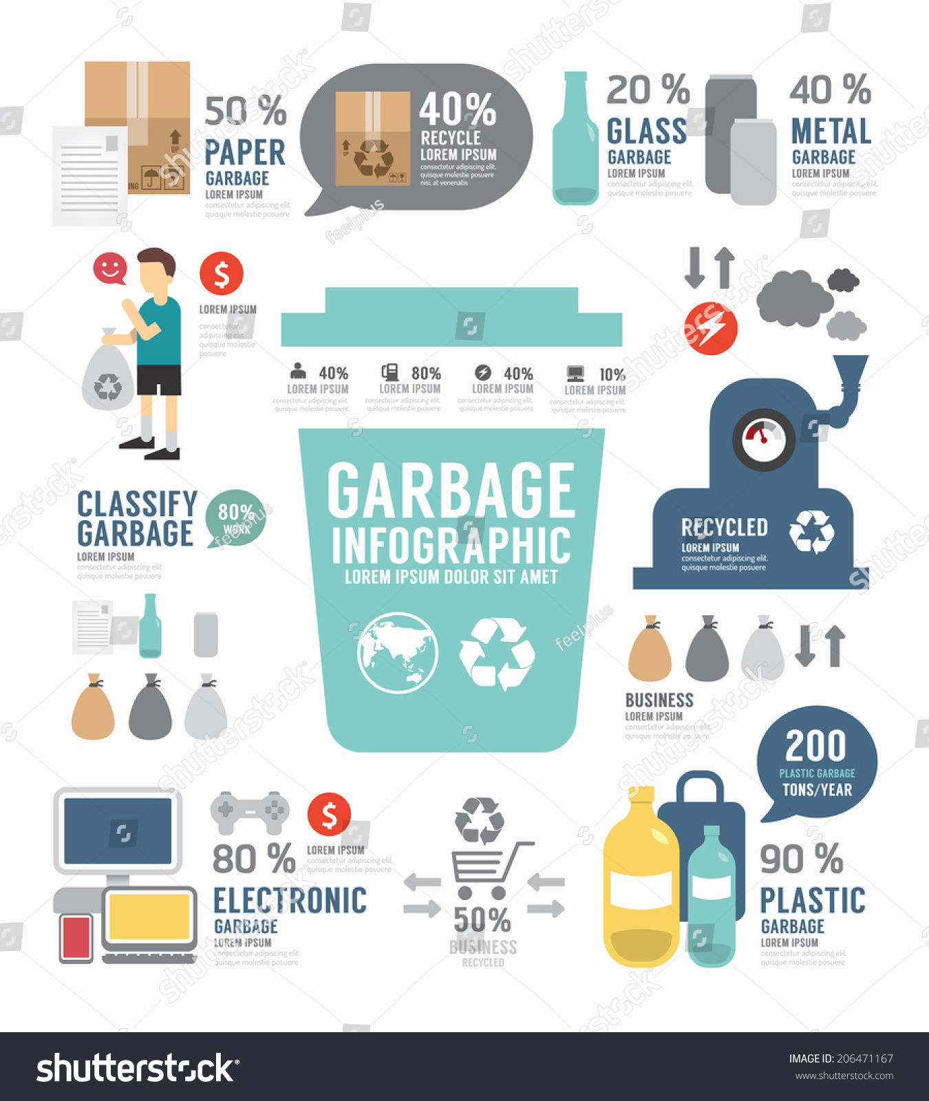 Infographic Garbage Annual Report Template Design Stock