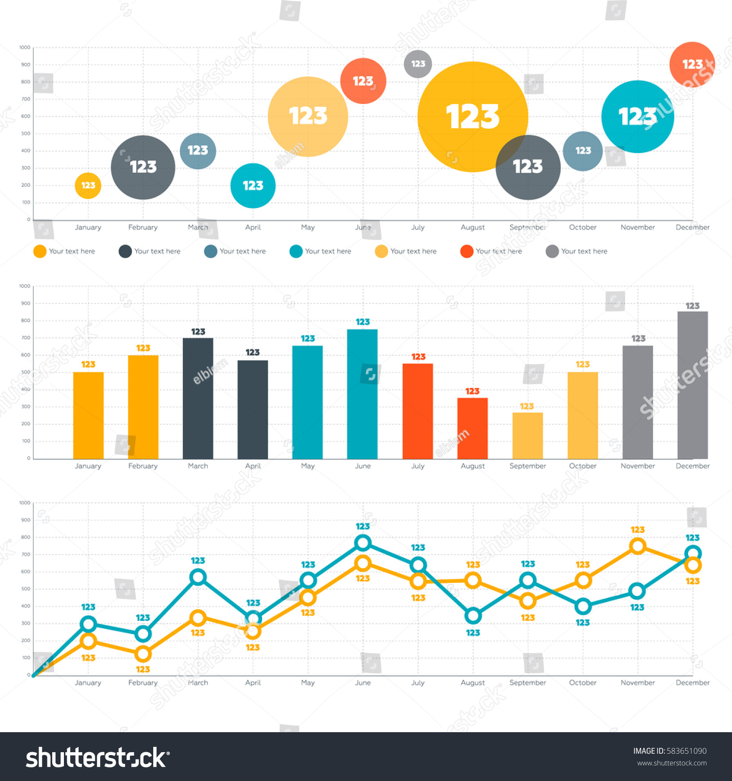 hight resolution of line chart bar chart and circle diagram