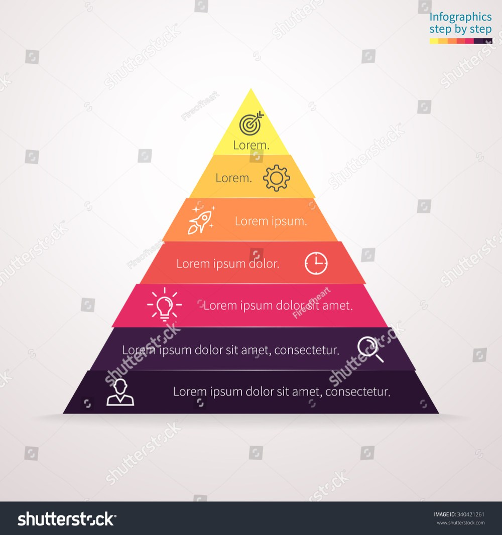 medium resolution of infographics step by step in the form of pyramid triangle with colored sections triangle