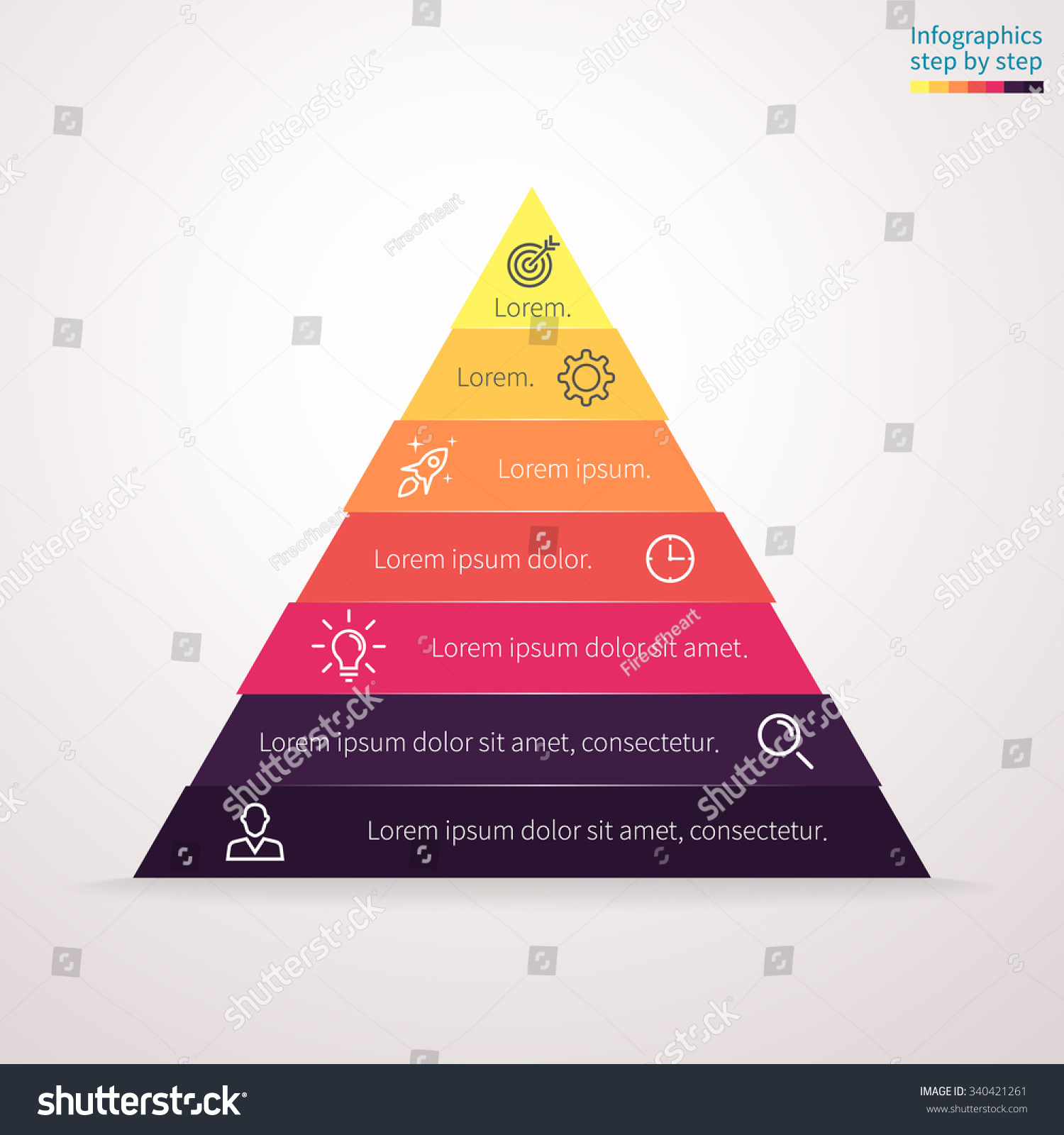 hight resolution of infographics step by step in the form of pyramid triangle with colored sections triangle