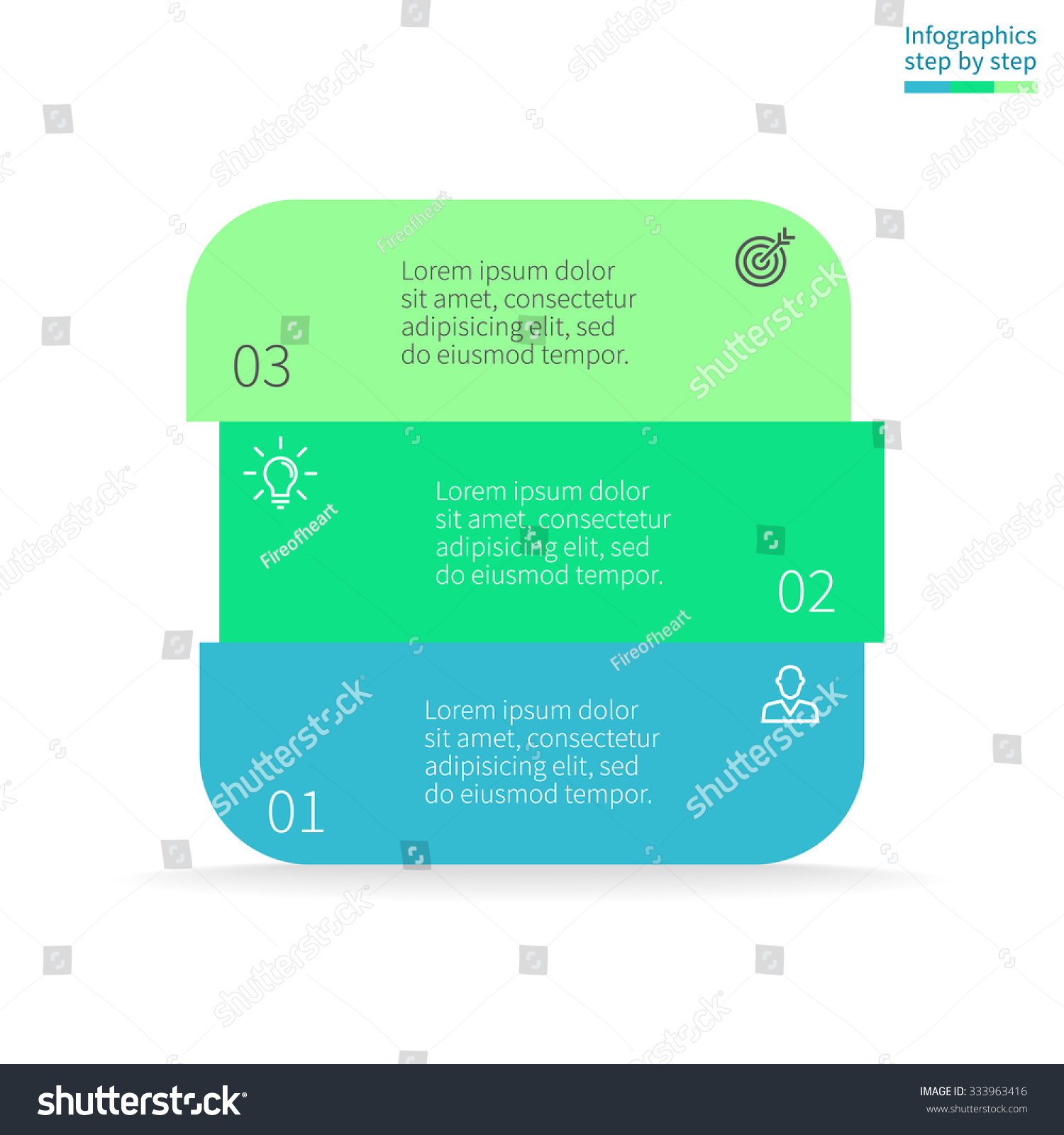hight resolution of infographics step by step in the form of rounded square box with colored sections
