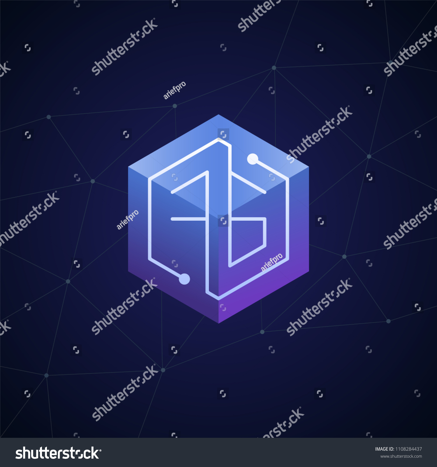 hight resolution of initial letter fg block chain looping mono line circuit letter on hexagon cube logo