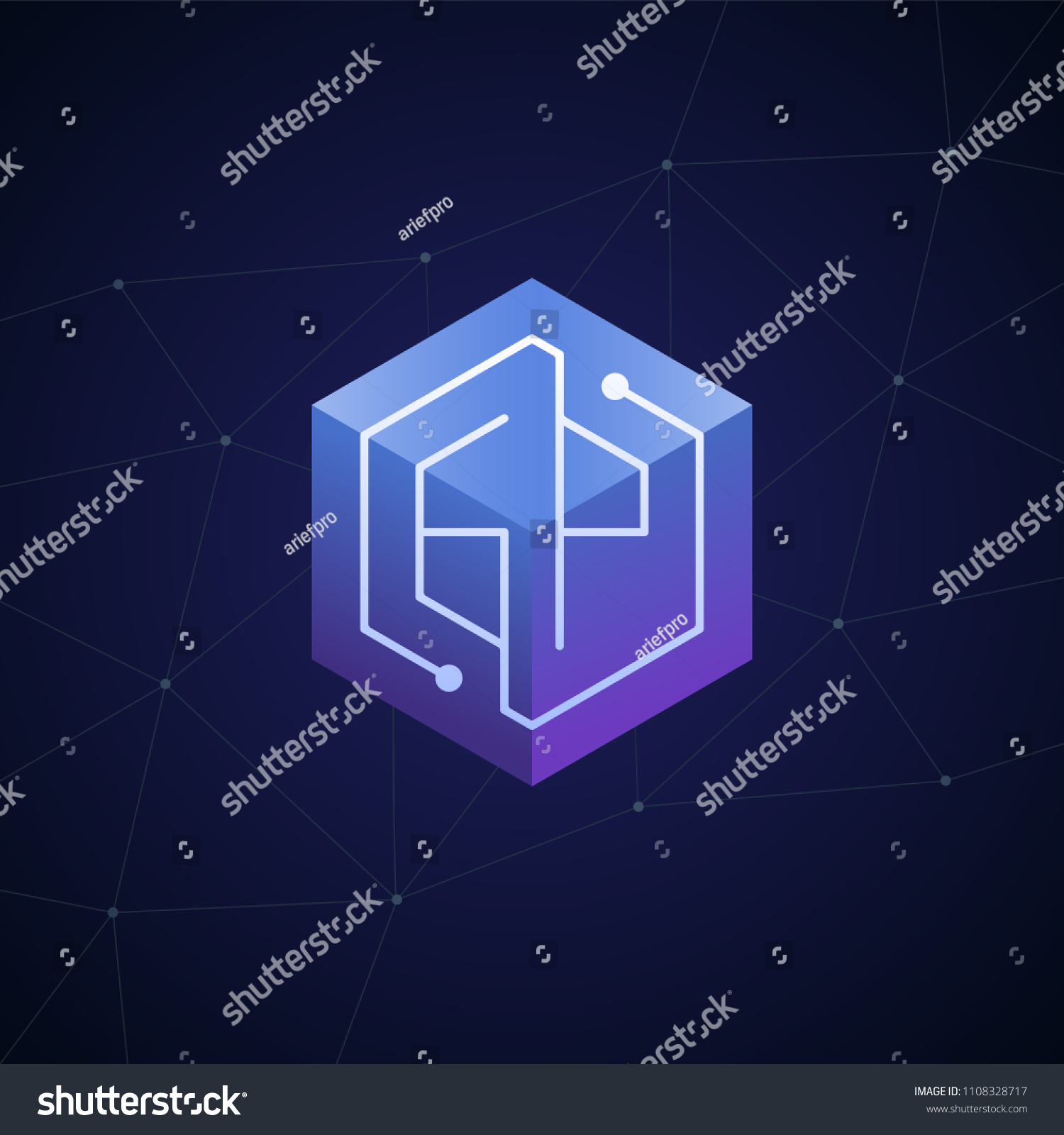 hight resolution of initial letter gp block chain looping mono line circuit letter on hexagon cube logo