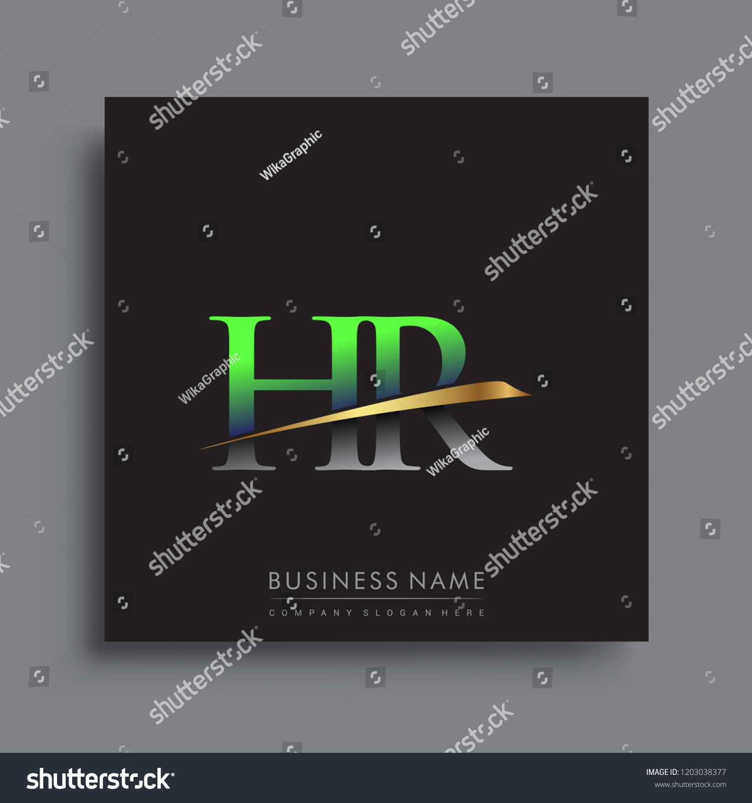 hight resolution of initial letter hr logotype company name colored green and gold swoosh design vector logo for