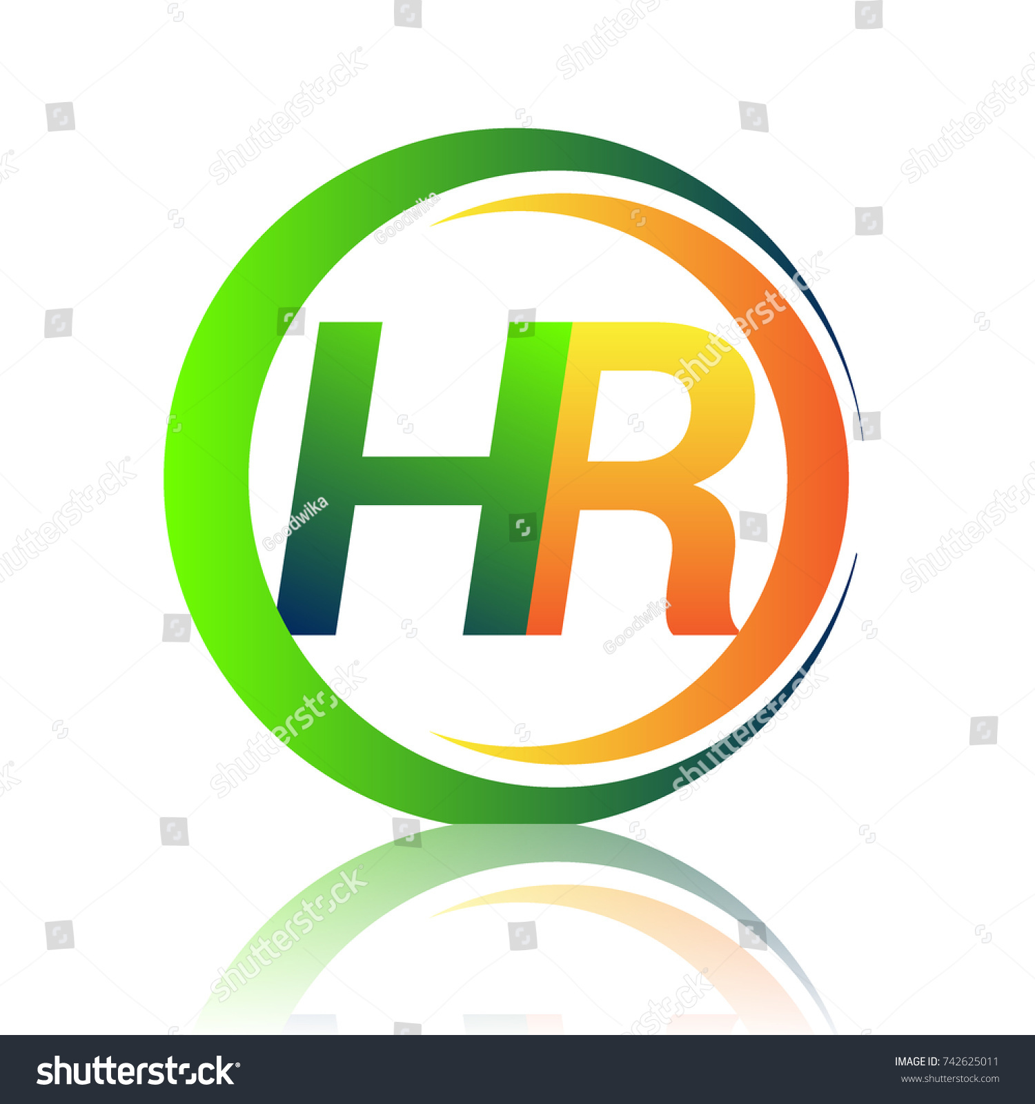 Initial Letter Logo Hr Company Name Green And Orange Color On Circle And  Swoosh Design.