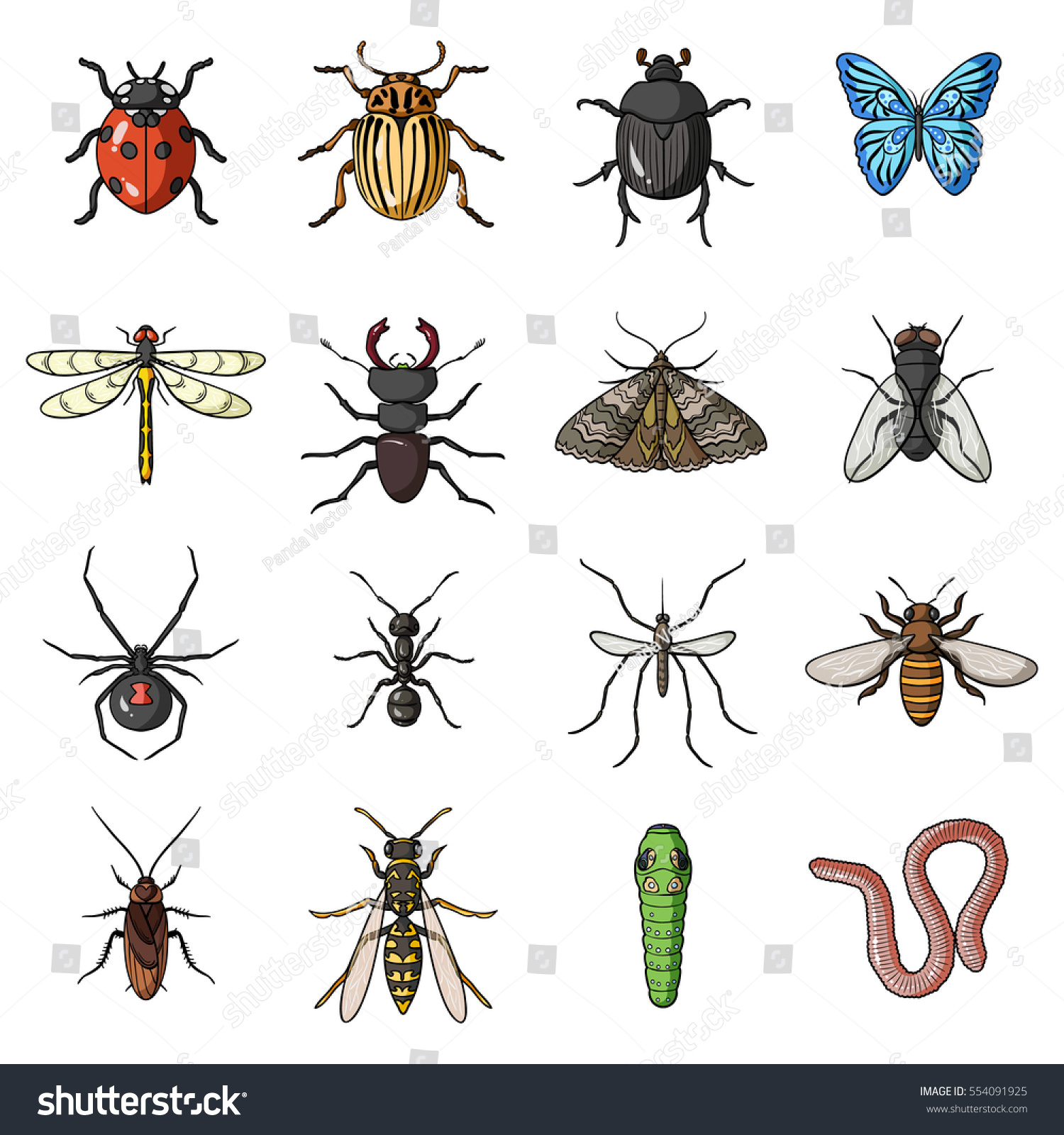 Insects Set Icons Cartoon Style Big Stock Vector