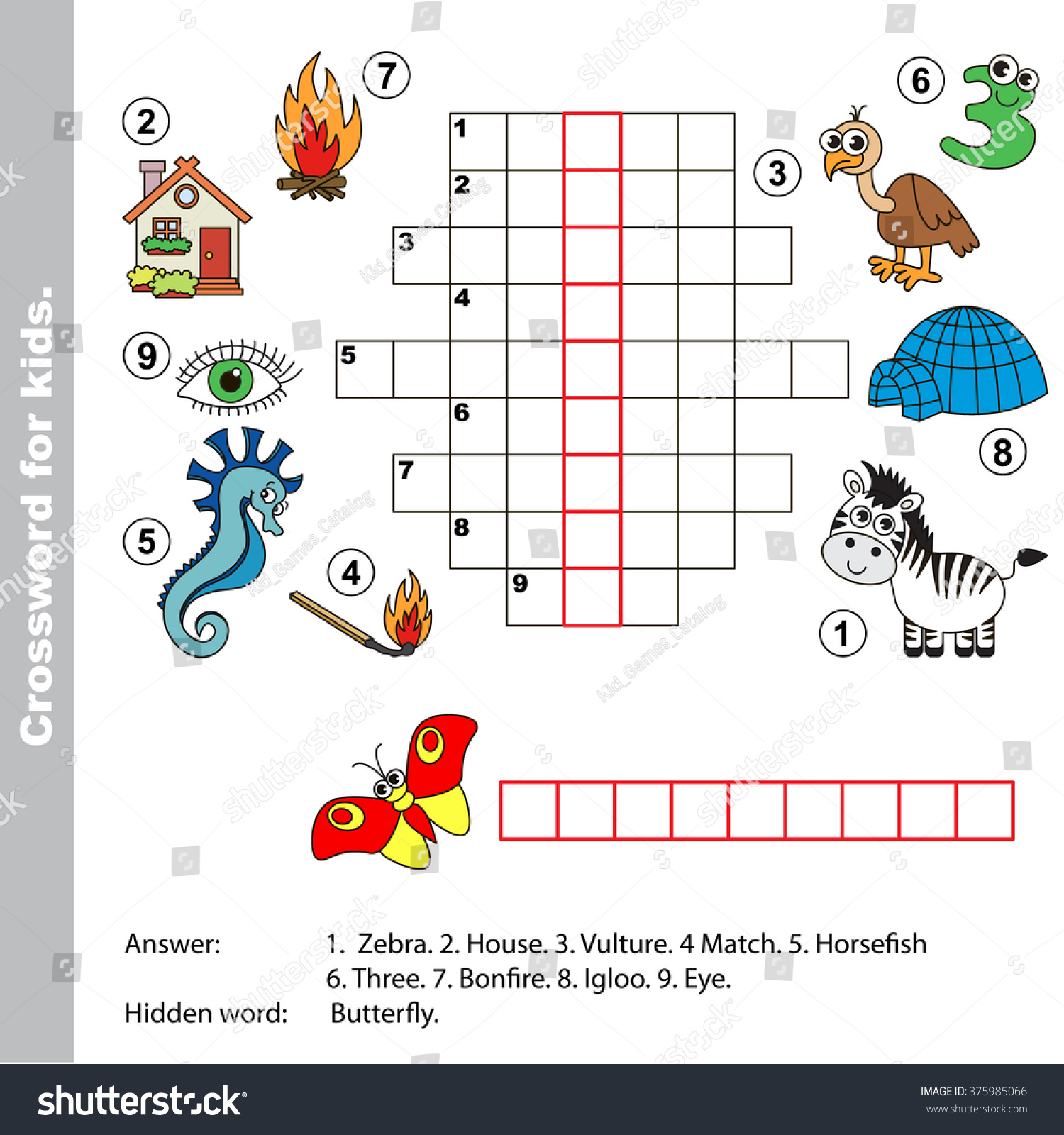 Butterfly Crossword Worksheet