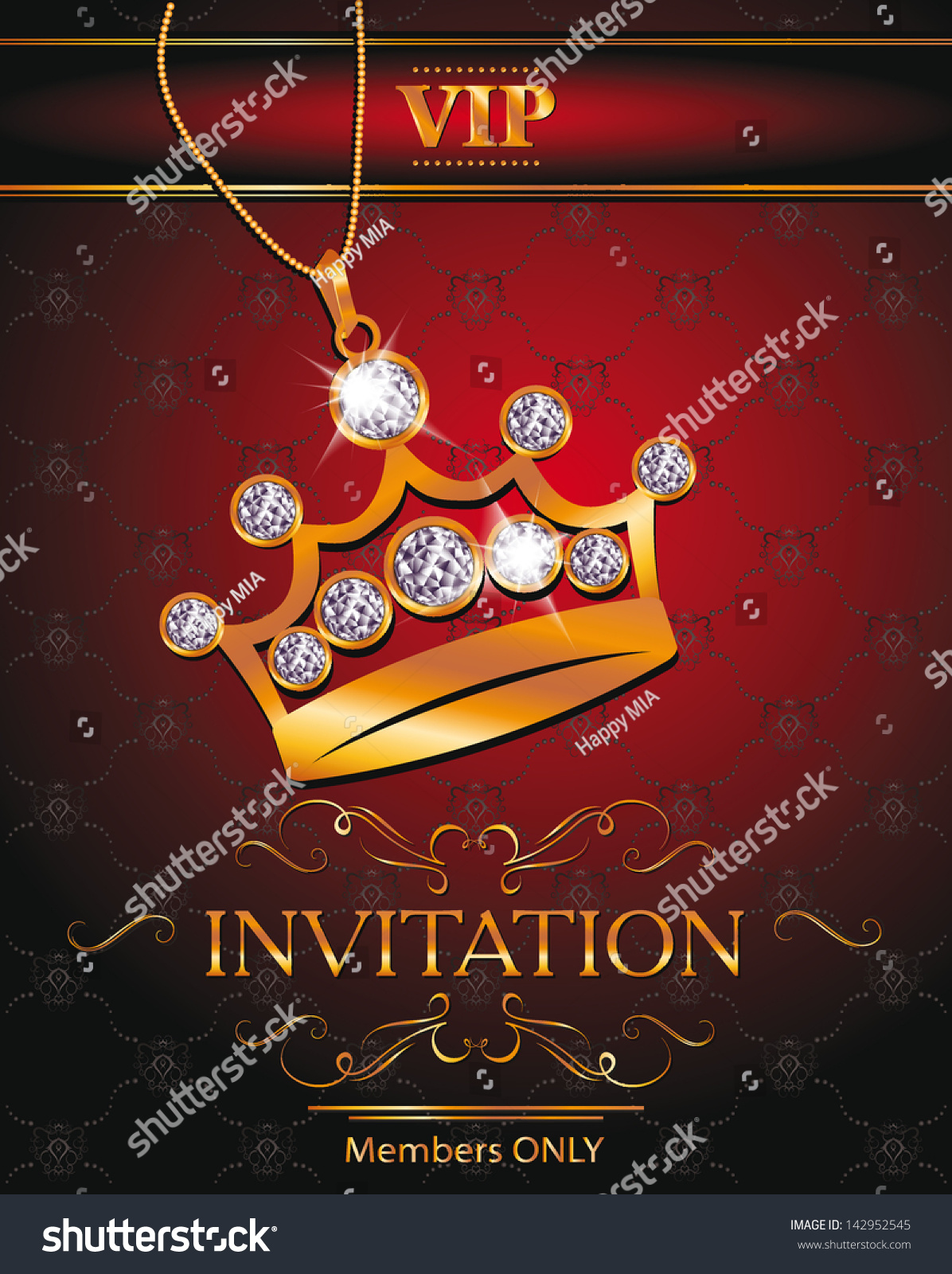 Invitation Vip Card Gold Crown Shaped Stock Vector