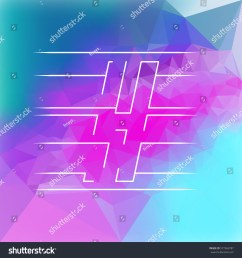 isolated vector clipart of h letter on a shiny blue and pink triangles pattern background [ 1500 x 1600 Pixel ]
