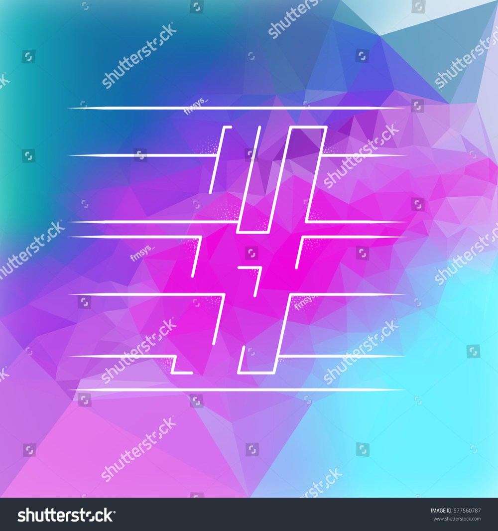 medium resolution of isolated vector clipart of h letter on a shiny blue and pink triangles pattern background