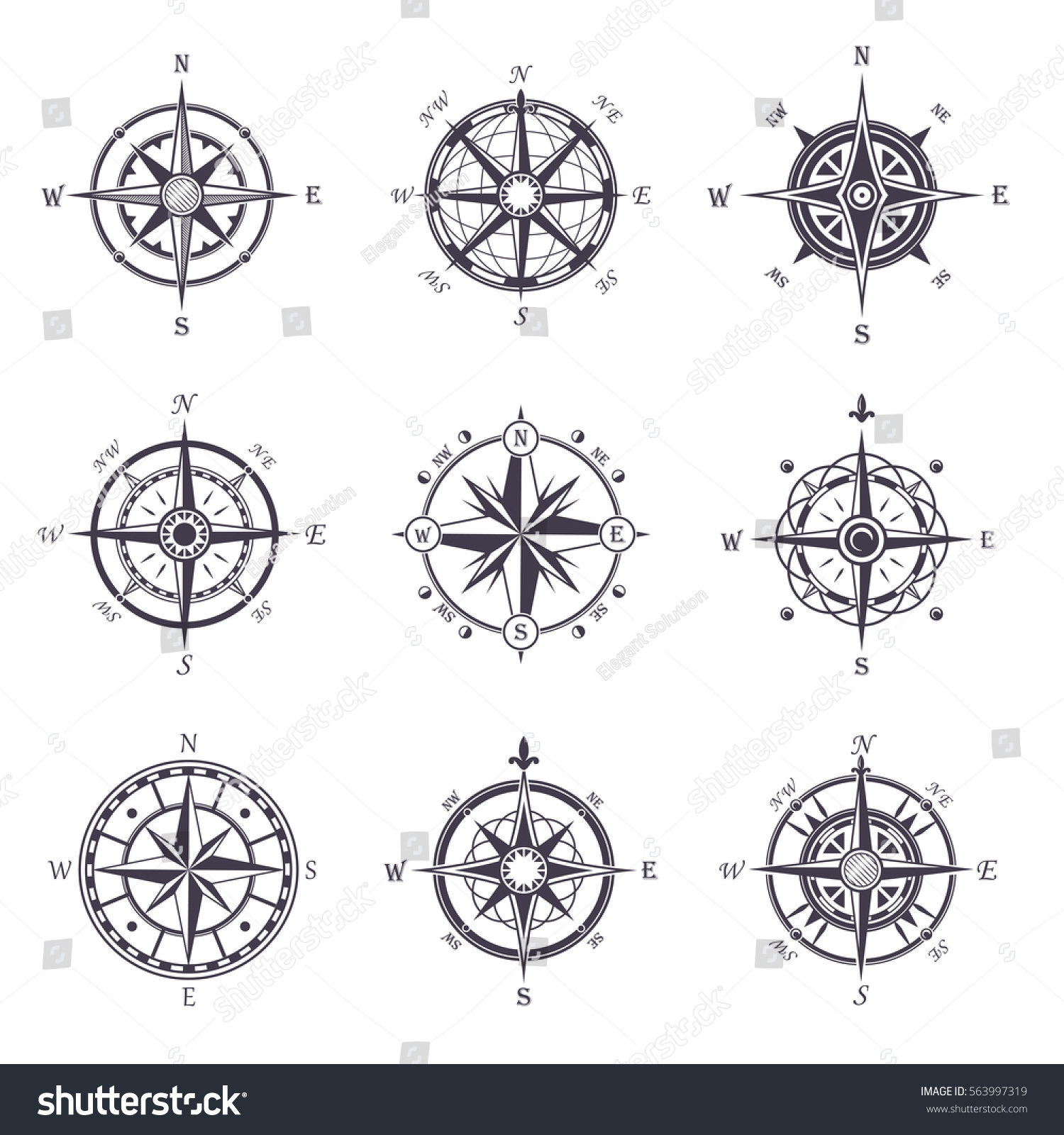 Isolated Vintage Old Compass Rose Icons Stock Vector