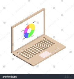 isometric circle diagram with computer screen gold color isometric notebook vector illustration  [ 1500 x 1600 Pixel ]