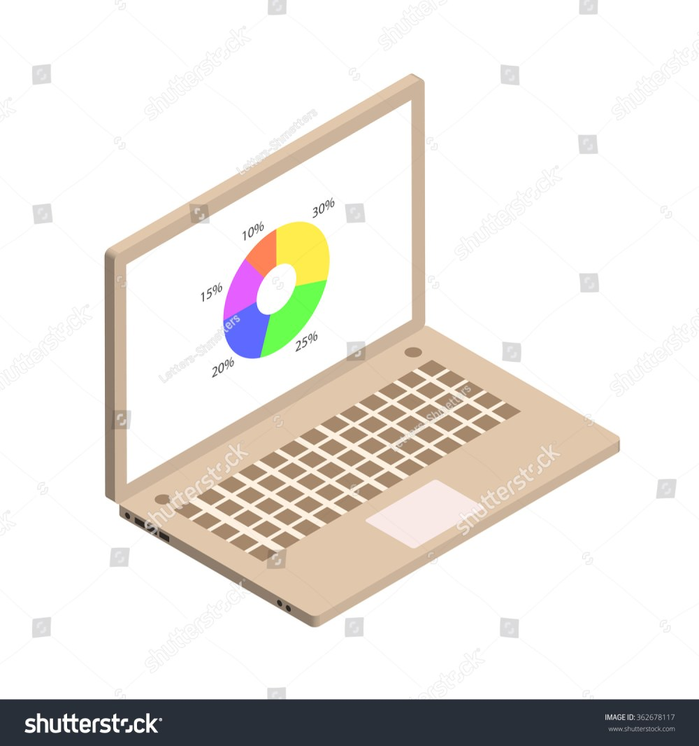 medium resolution of isometric circle diagram with computer screen gold color isometric notebook vector illustration