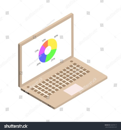 small resolution of isometric circle diagram with computer screen gold color isometric notebook vector illustration