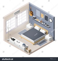 Isometric Interior Room House Cutaway Icon Stock Vector ...