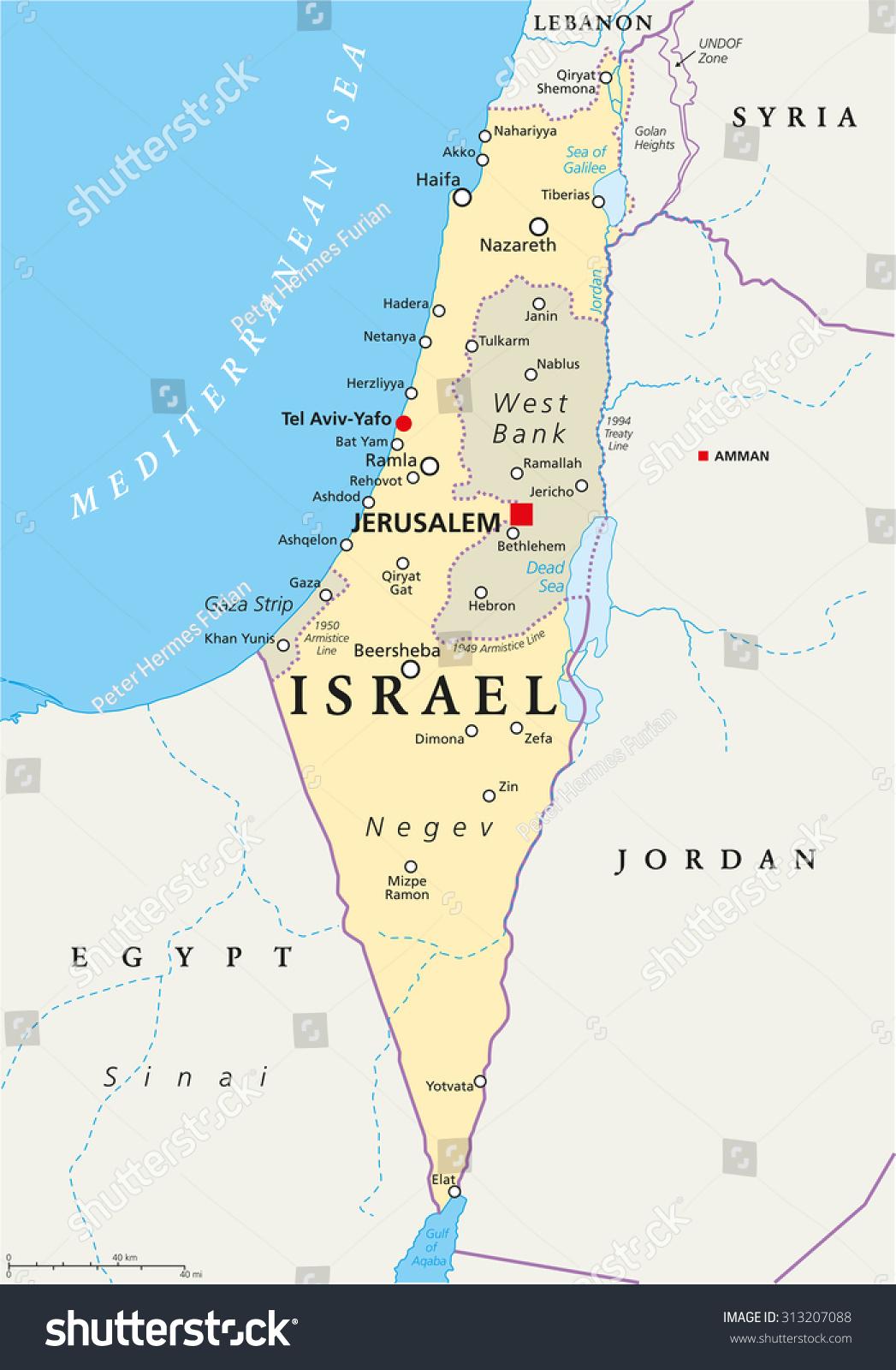 Israel Political Map Capital Jerusalem National Stock Vector