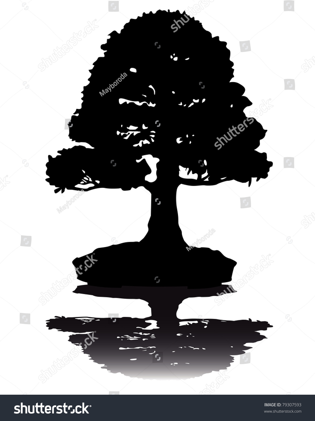 Bonsai Silhouette : bonsai, silhouette, Japanese, Bonsai, Silhouette, White, Stock, Vector, (Royalty, Free), 79307593