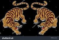 Japanese Tiger Sticker Tattoo Designcartoon Tiger Stock