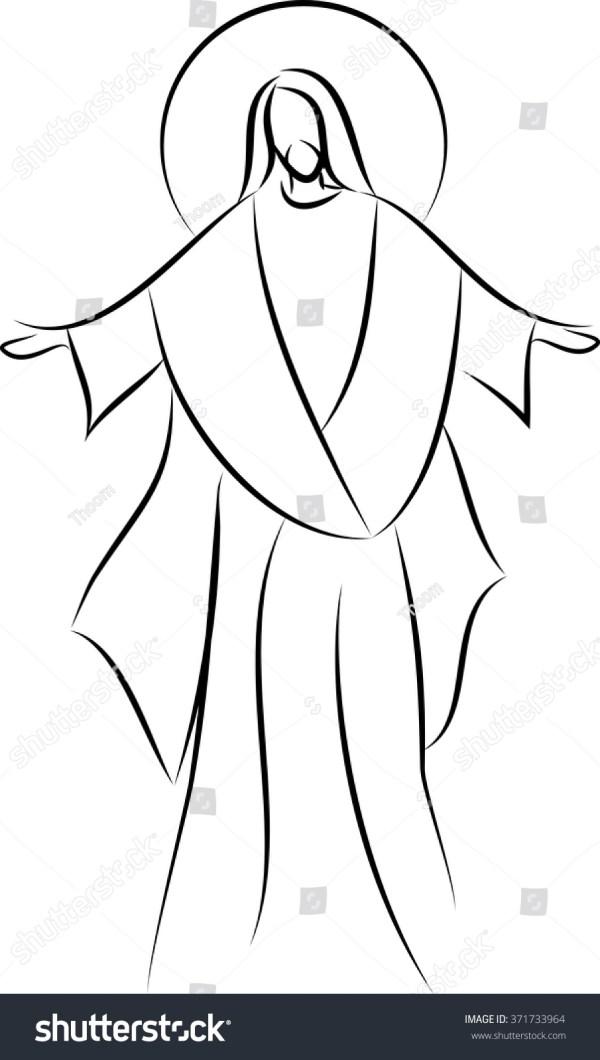 Jesus Christ Simple Line Drawing Vector Stock Vector