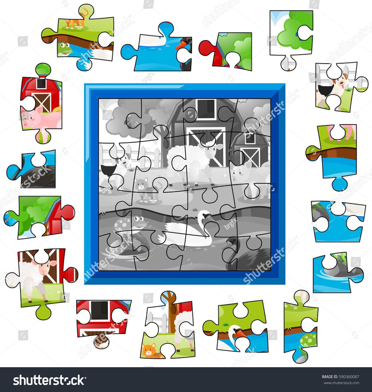 Jigsaw Puzzle Game Animals Farm Illustration Stock Vector