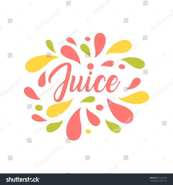 Juice Hand Written Lettering Logo Stock Vector