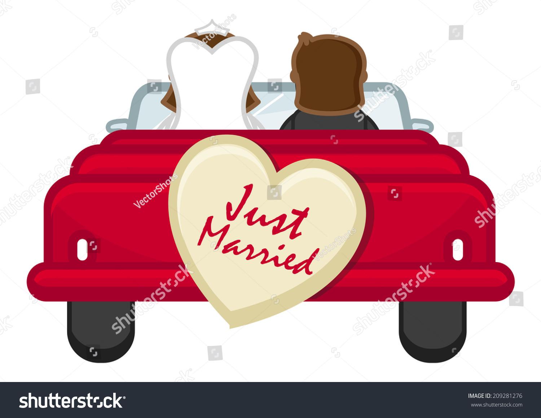 Just Married Couple Going Honeymoon Cartoon Stock Vector
