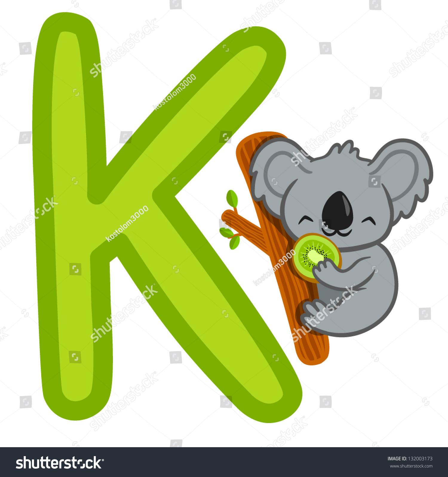 K Koala Kiwi Letter Funny Alphabet Stock Vector