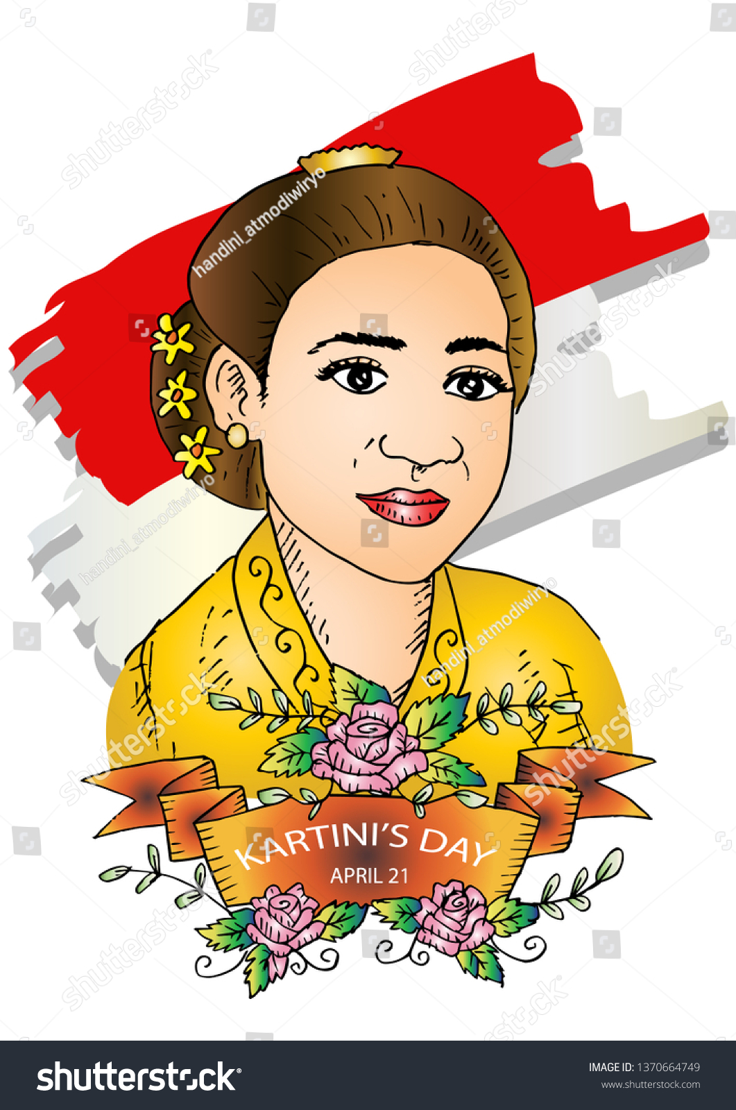 Ra Kartini Vector : kartini, vector, Kartini, Heroes, Women, Stock, Vector, (Royalty, Free), 1370664749