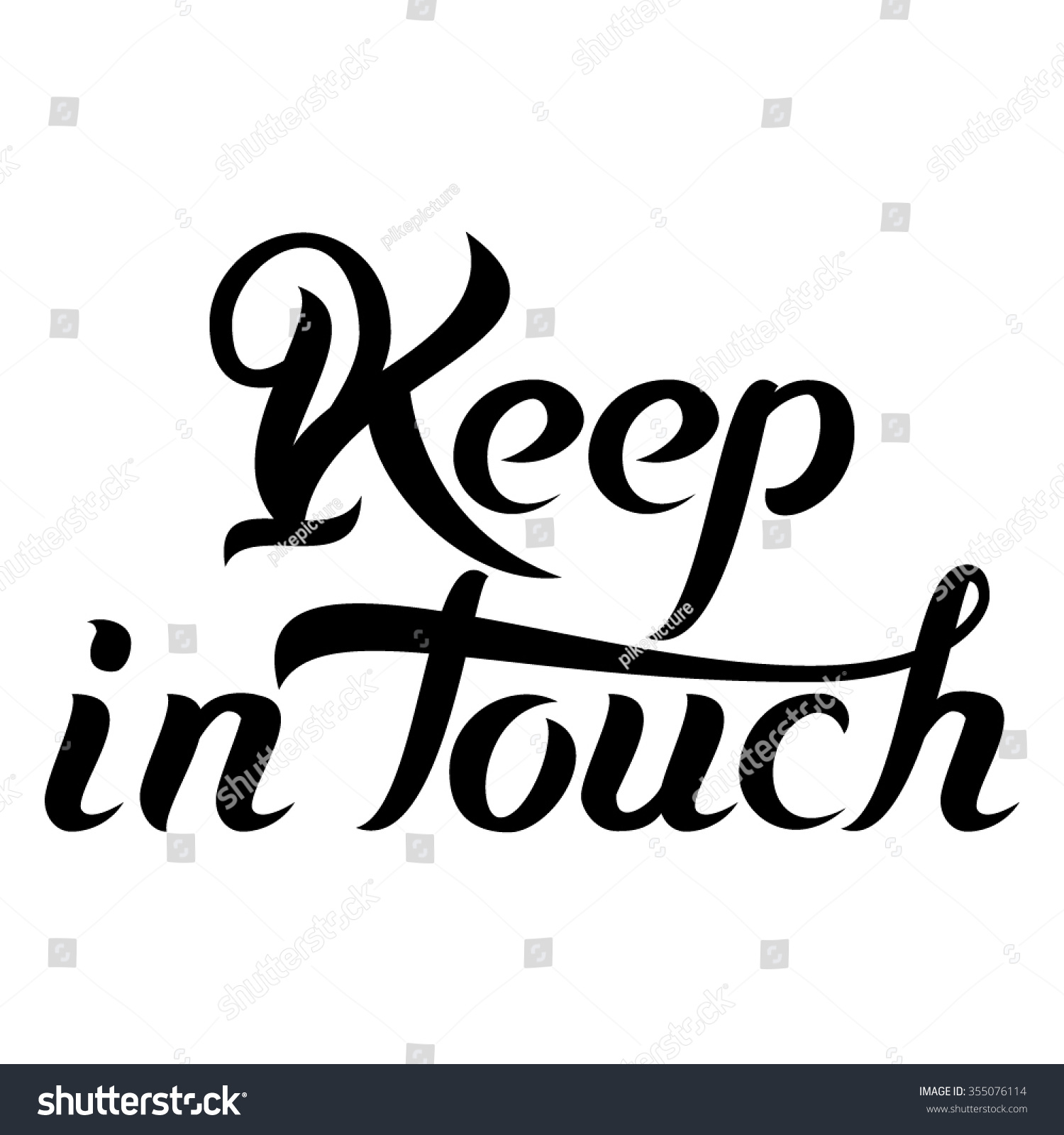Keep Touch Hand Lettering Text Isolated Stock Vector 355076114 - Shutterstock