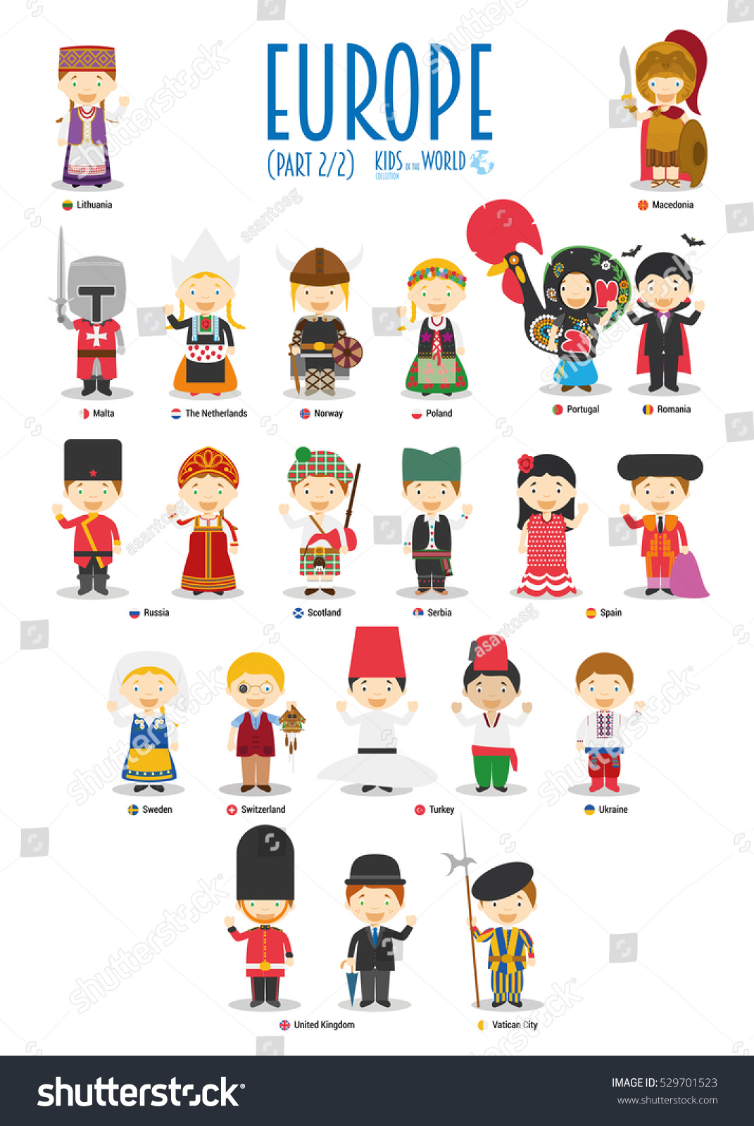 Kids Nationalities World Vector Europe Set Stock Vector