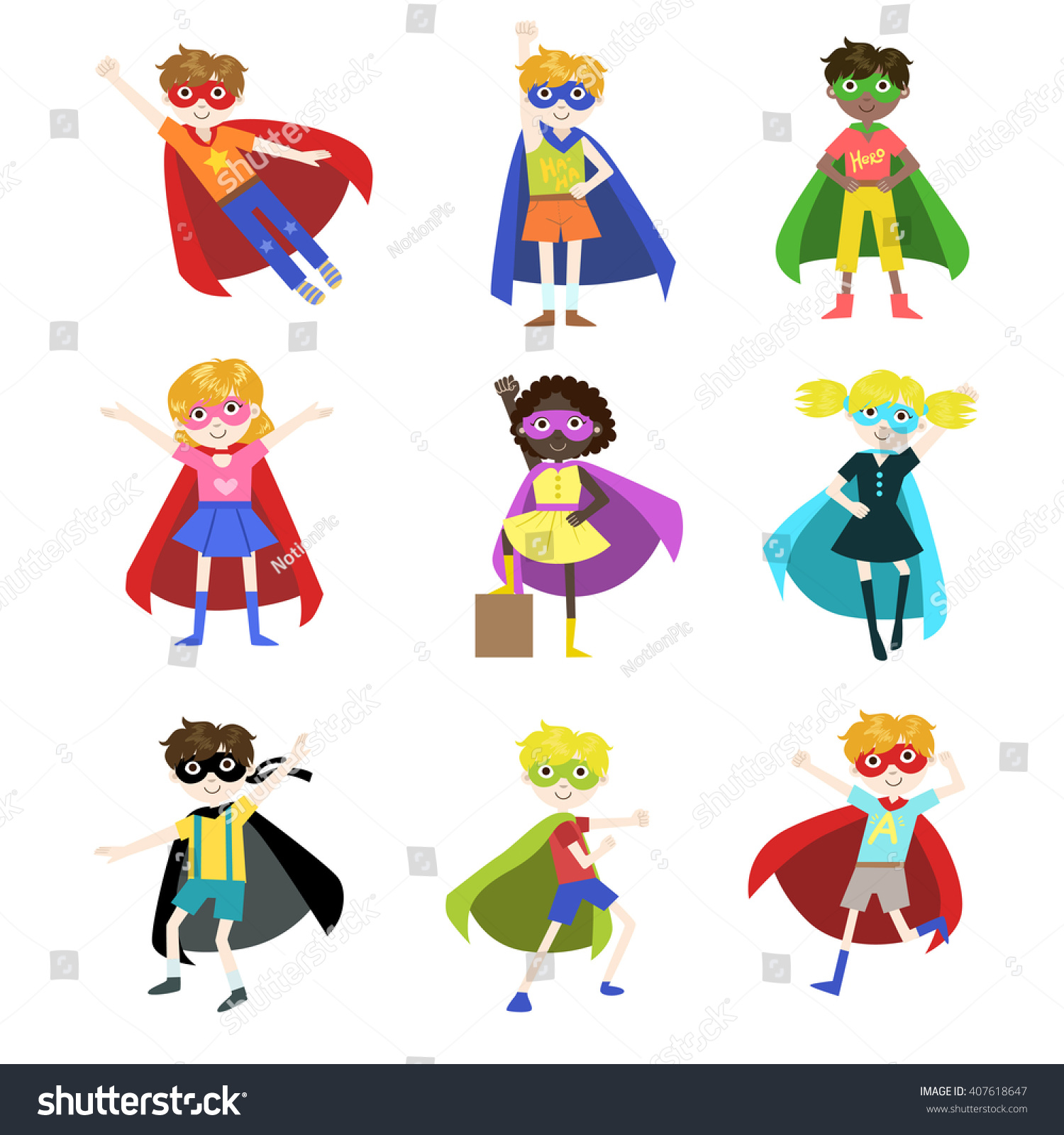 Kids Dressed Superheroes Funny Flat Isolated Stock Vector