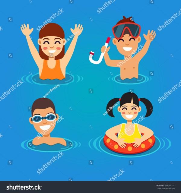 Kids Fun Swimming Sea Summer Stock Vector 298280141