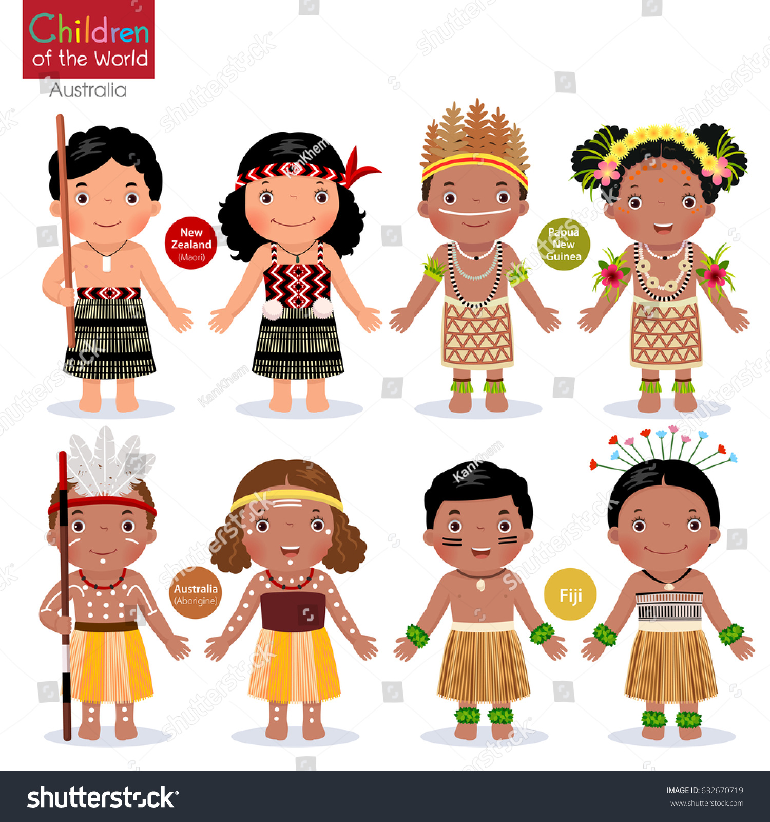 Kids Different Traditional Costumes New Zealand Stock