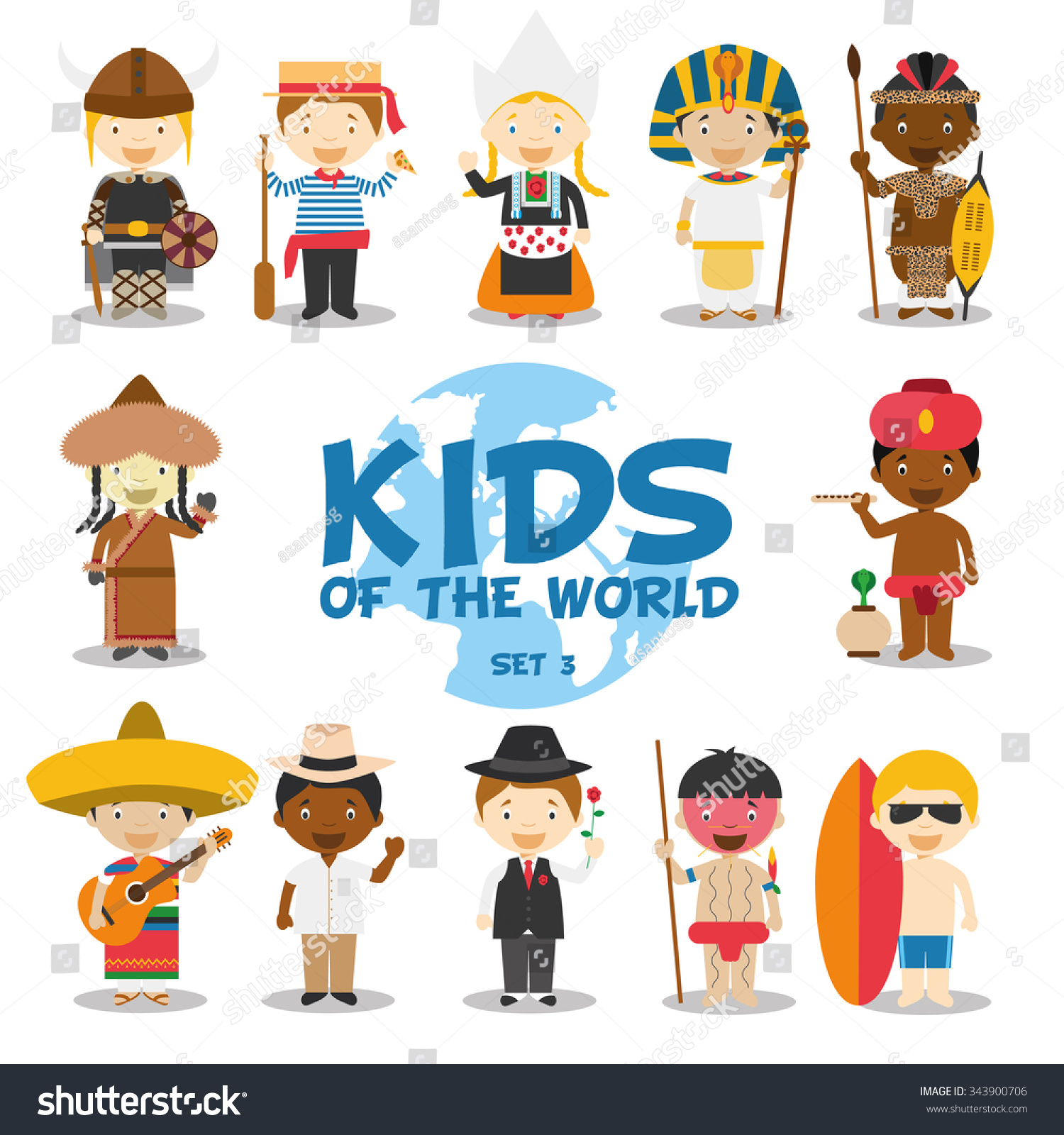 Kids World Vector Illustration Nationalities Set Stock
