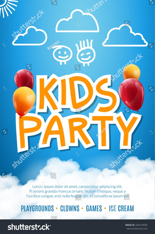 Balloons Kids Party Invitations Templates