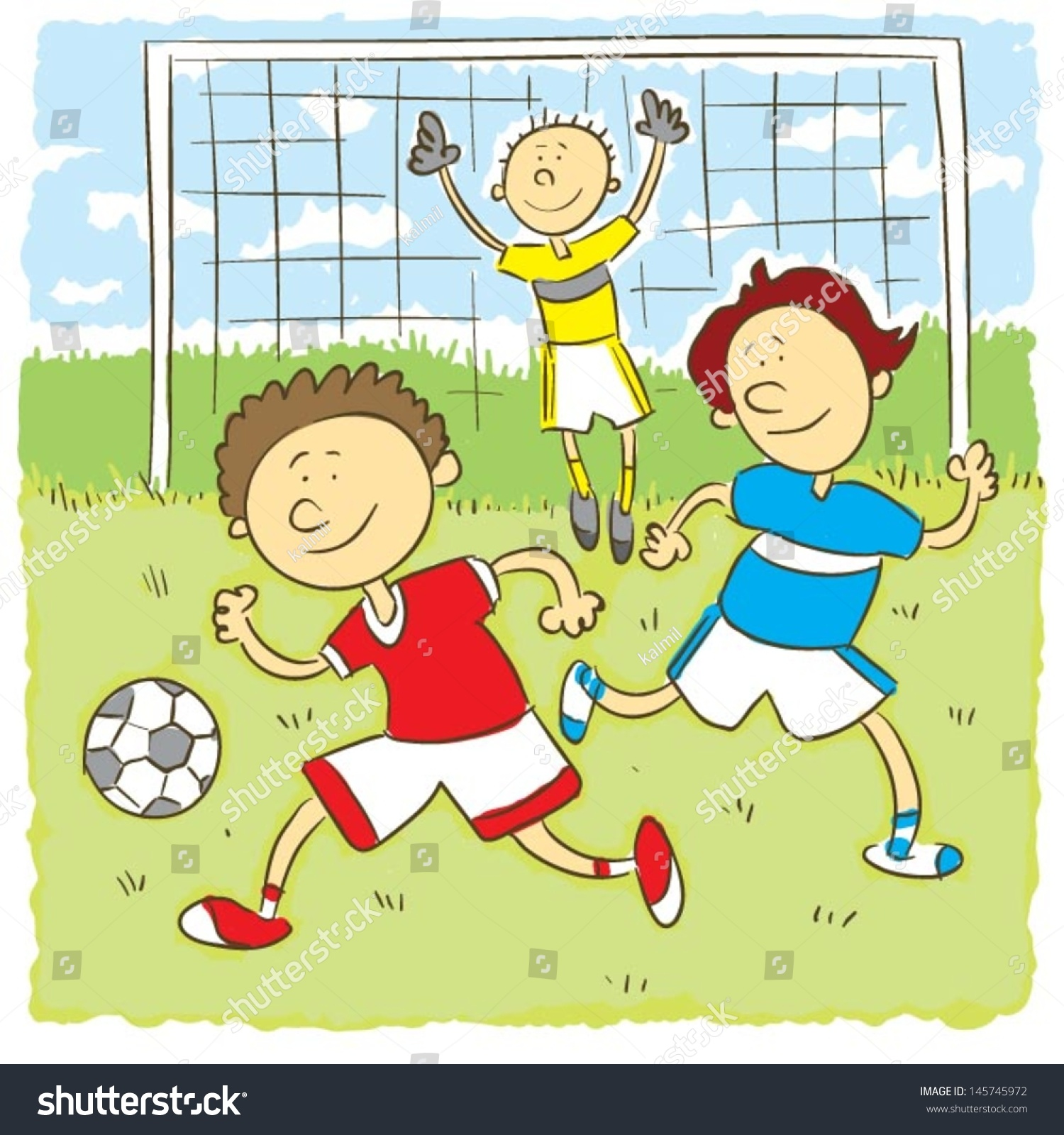 Kids Playing Soccerchilds Hand Drawing Vector Stock Vector