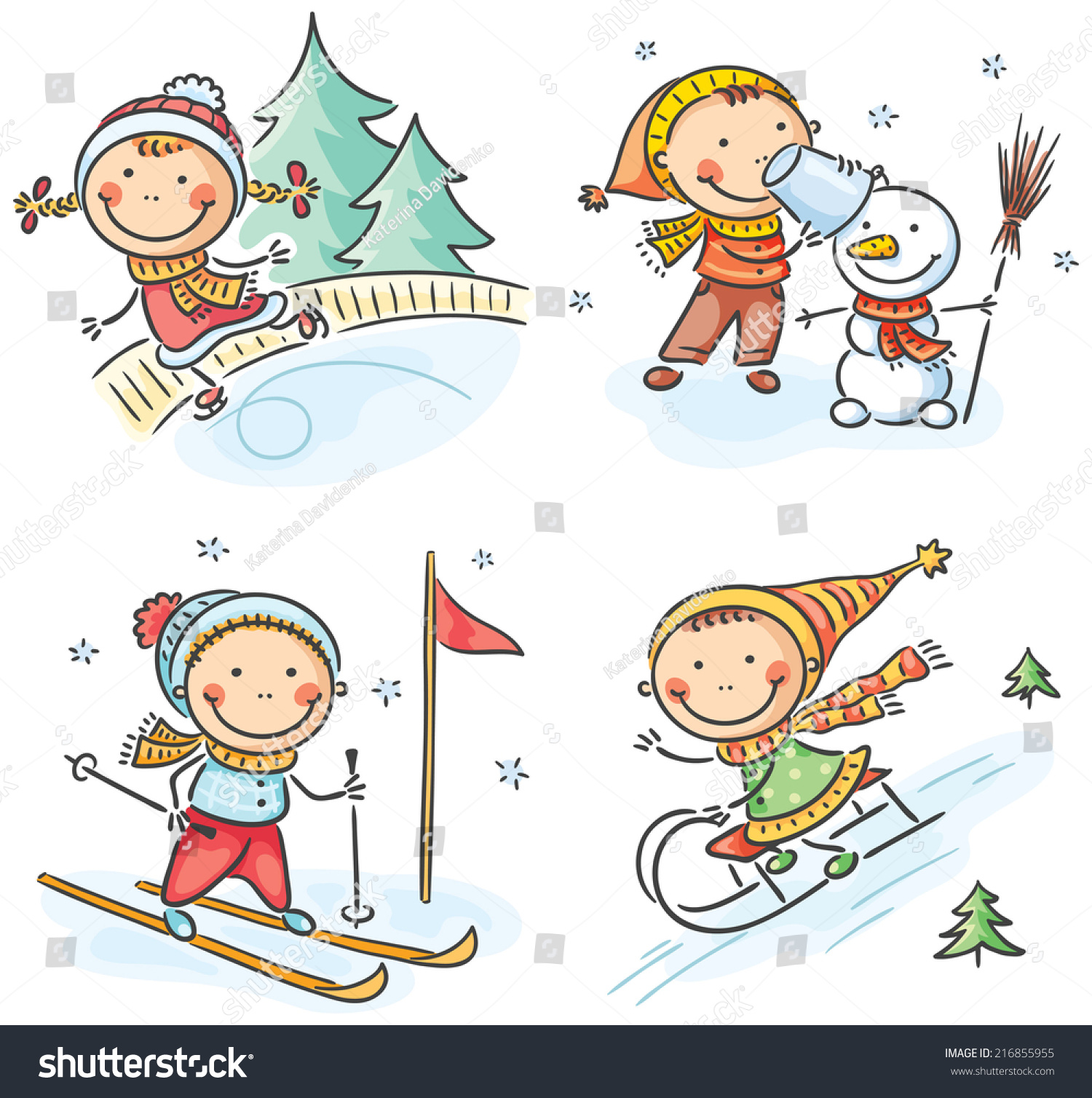 Kids Winter Outdoors Activities Stock Vector Illustration