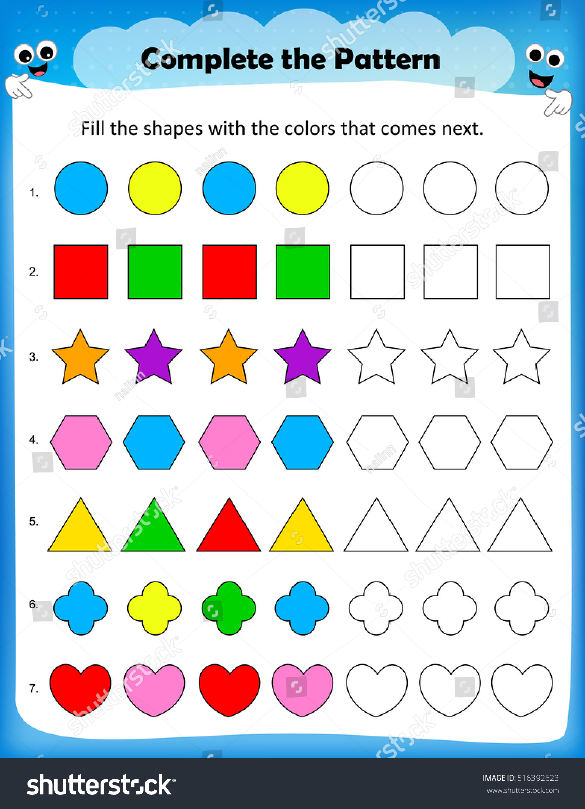 Square Color Patterns Worksheet