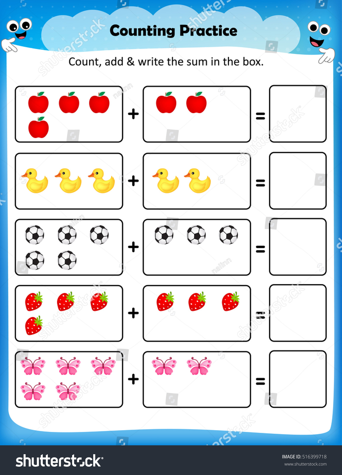 Kids Worksheet Counting Practice Maths Worksheet Stock