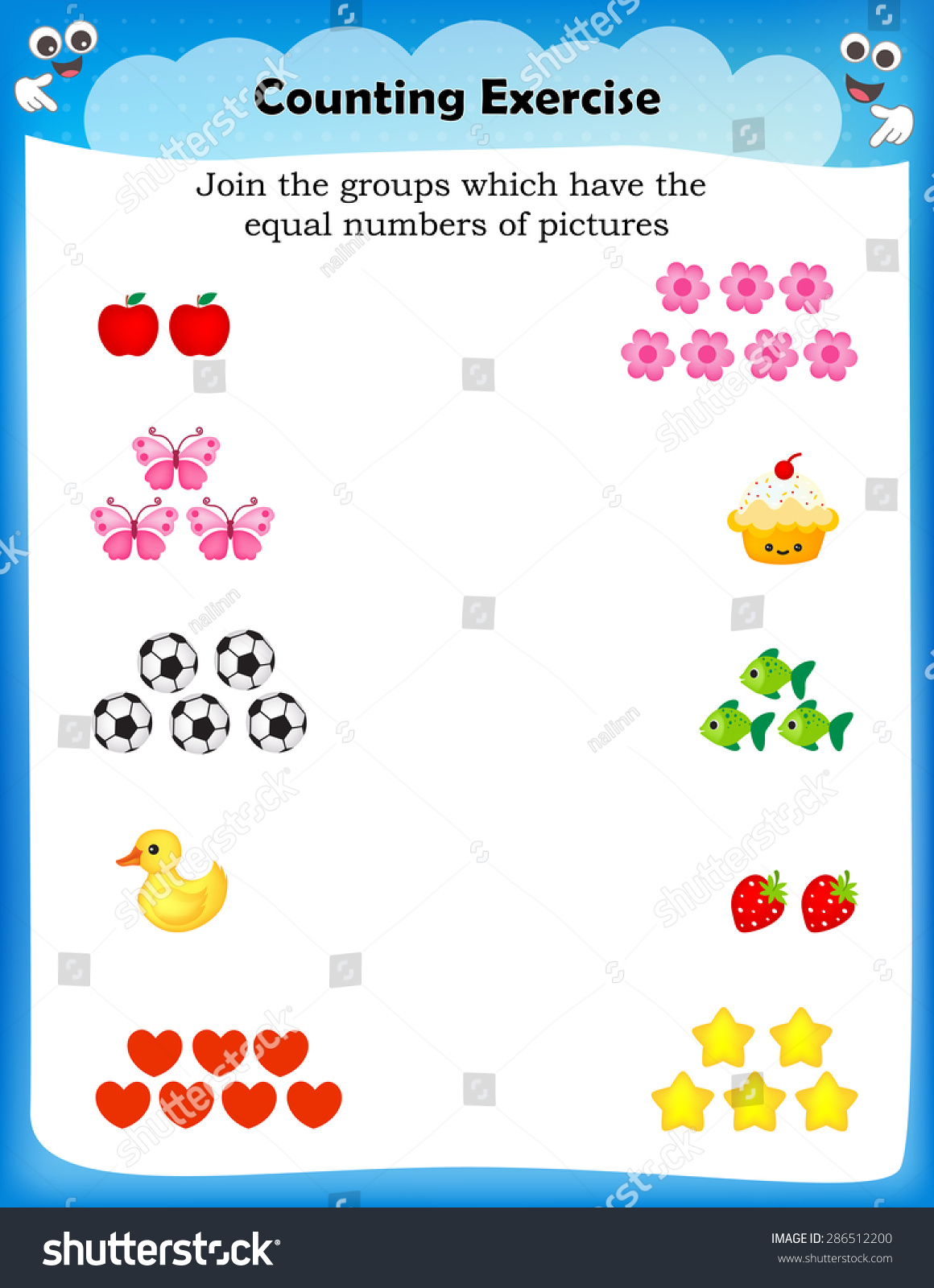 Kids Worksheet Counting Exercises Count Match Stock Vector