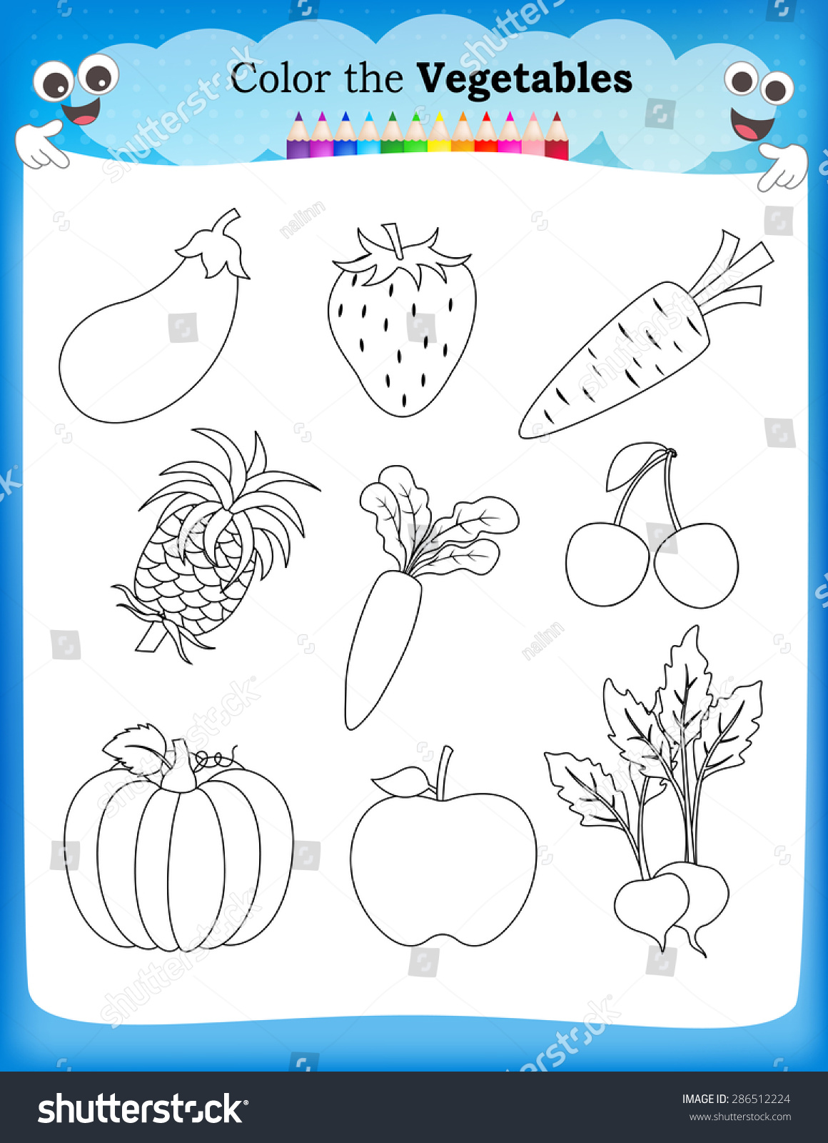 Kids Worksheet Fruits Vegetables Stock Vector