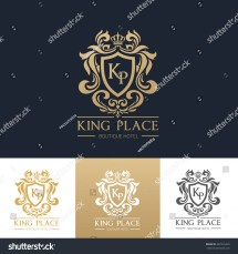 King Place Luxury Brand Logo Template Stock Vector