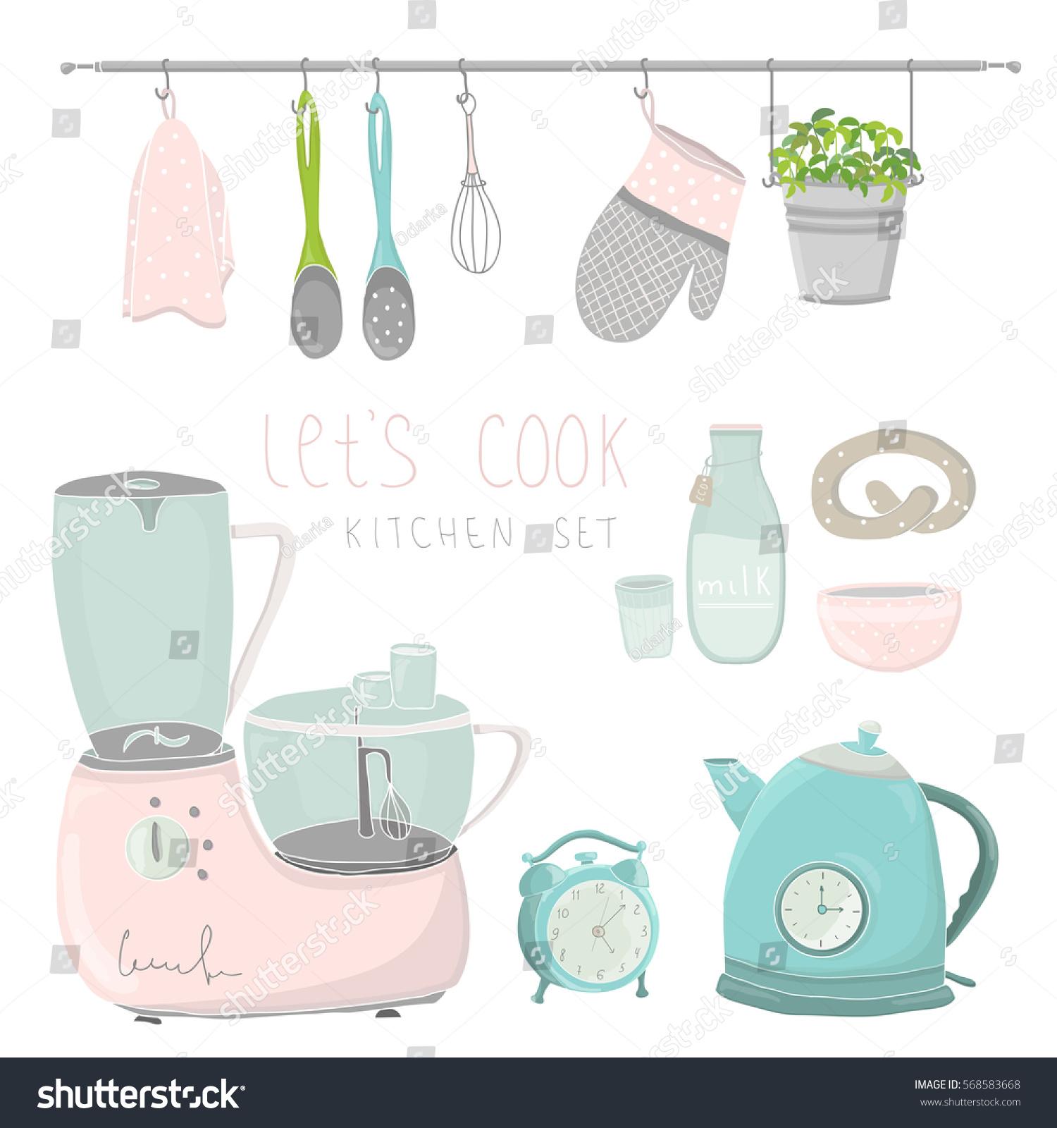 cute kitchen gadgets outdoor pics utensils vector illustration stock